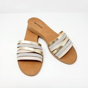 Metallic & Gray Striped Call It Spring Sandals